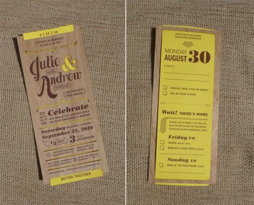 Wedding invitations for my friends Andy Julie Laser cut wood veneer